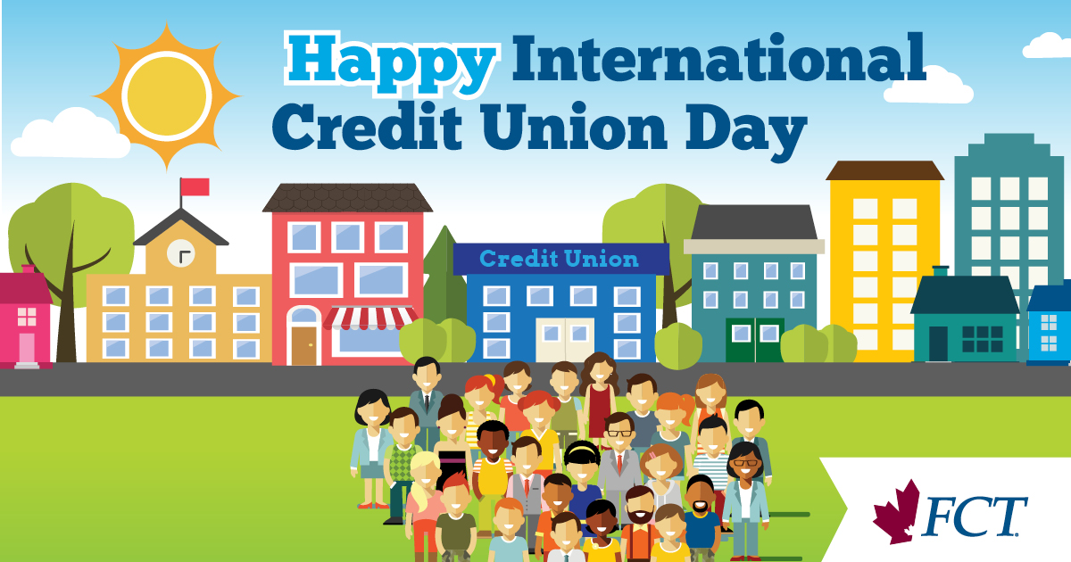 A drawing of a large group of people in front of a credit union celebrating International Credit Union Day