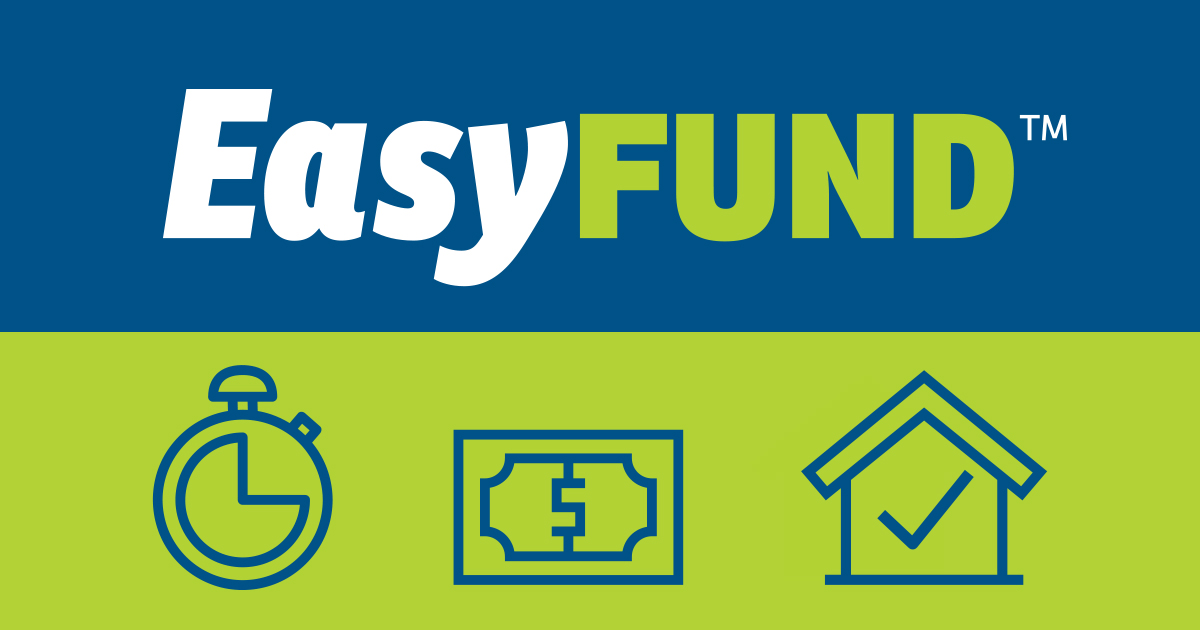 Text that says EasyFund with icons of a clock, money and a house under it