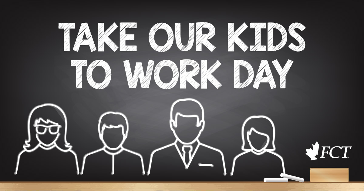 """A Chalkboard with the words """"Take Our Kids to Work"""" and a drawing of two parents and two kids"""