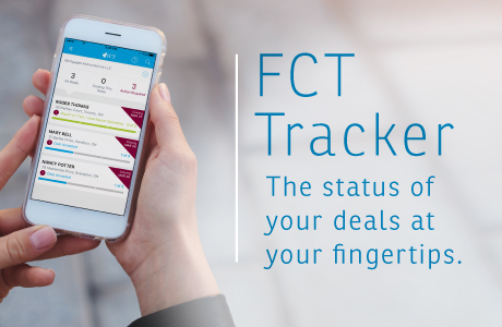 "Woman looking at Fct Tracker on their mobile phone, with the text ""The status of your deals at your fingertips.\"""