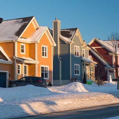 Houses in winter in Quebec
