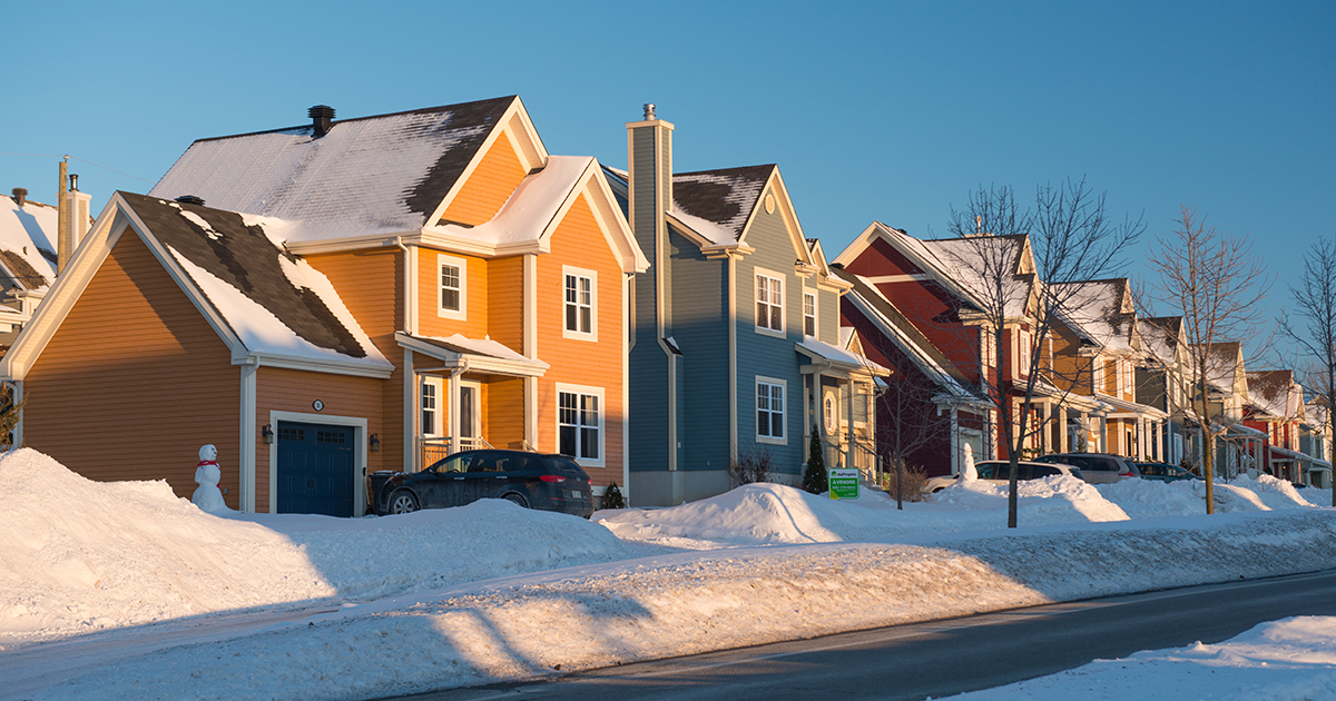Houses in winter in Quebec