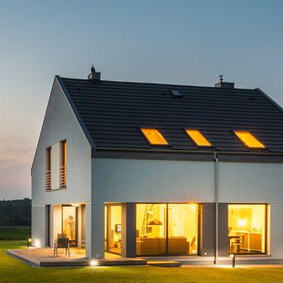 A Modern home on a summer evening