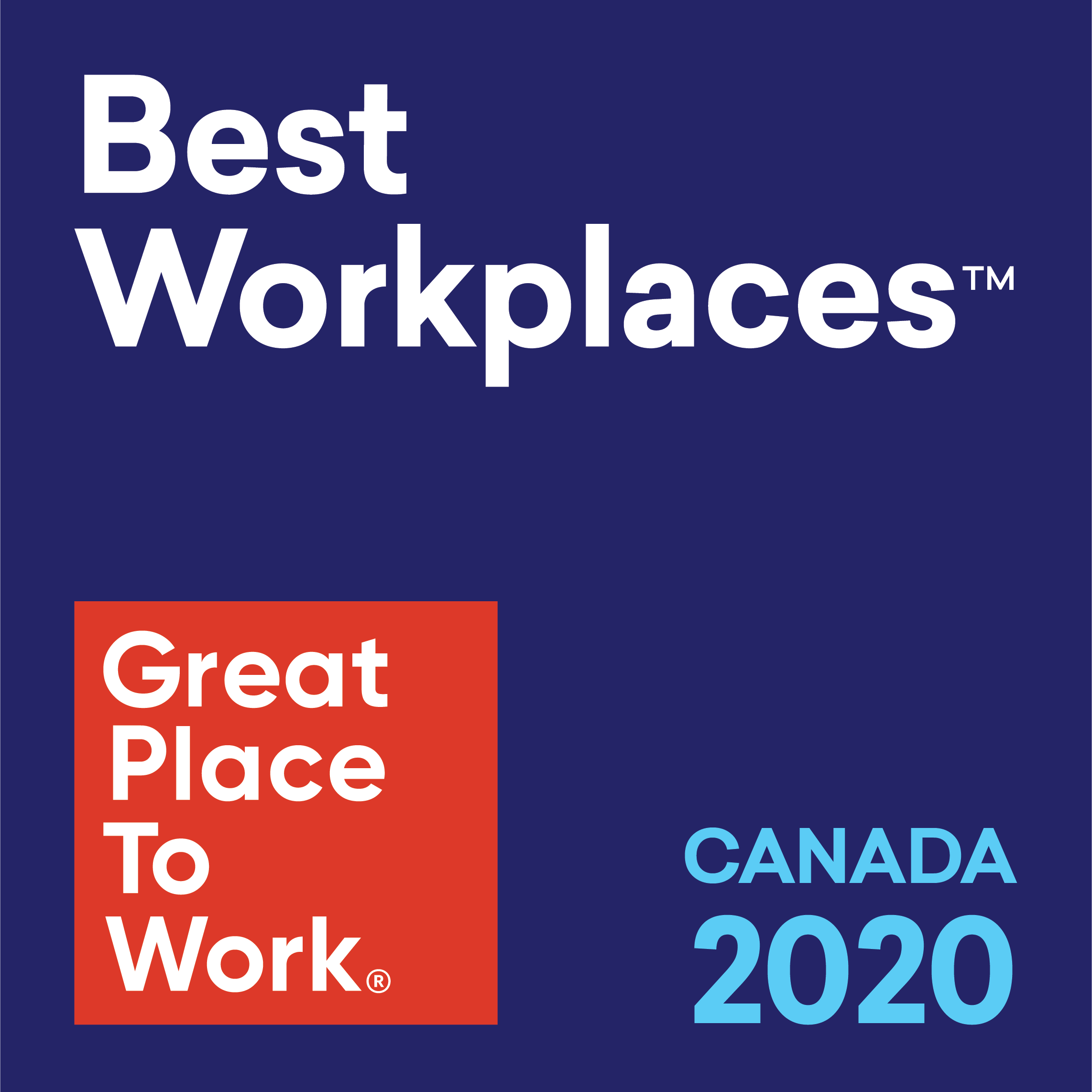 Best Workplaces.  Great Place To Work in Canada 2020.