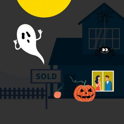 cartoon image of a house, with a ghost and a pumpkin in foreground