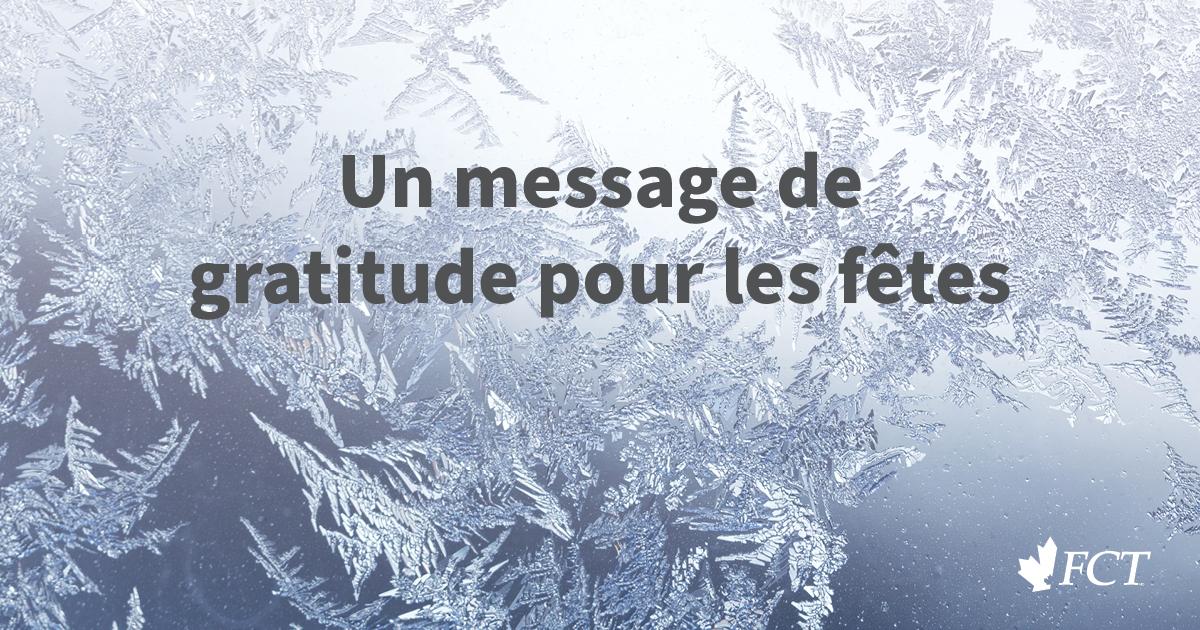 Un message de gratitude pour les fêtes