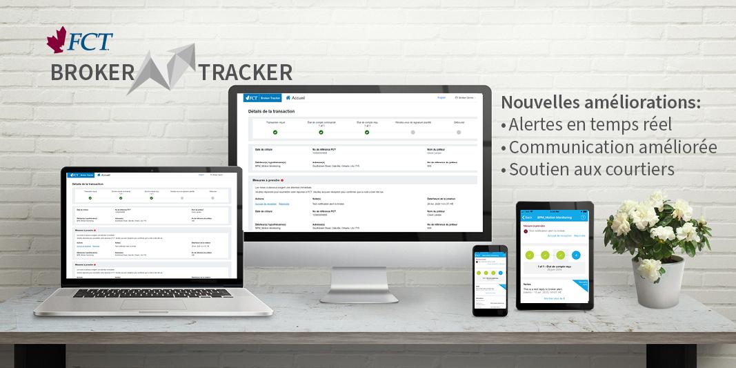 Texte sur l'image: FCT Broker Tracker, nouvelles améliorations: alertes en temps réel. Communication améliorée. Soutien aux courtiers.
