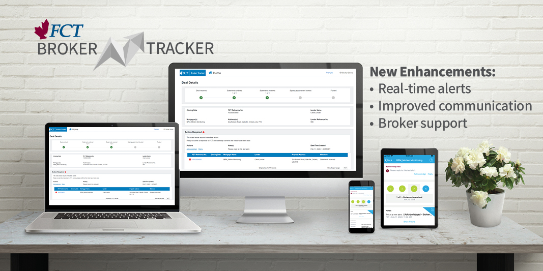 A Desktop Computer, Laptop, Tablet and Mobile Phone on a desk showing the enhancements to FCT's Broker Tracker. Text on image: FCT Broker Tracker, New Enhancements: Real-time alerts. Improved Communication. Broker support.