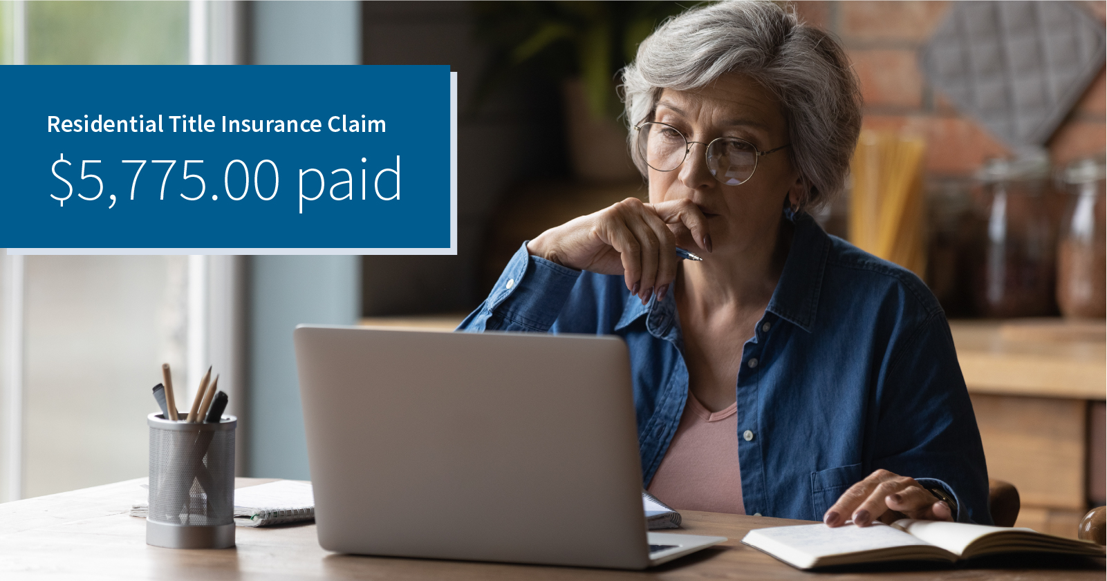 photo of a woman seated in her home considering information on her laptop screen. Caption: Residential Solutions Claim $5,775.00 paid