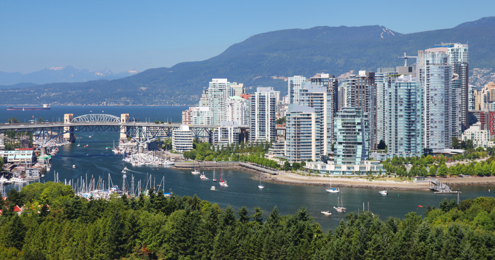 landscape photo of downtown Vancouver and the Burrard Street bridge